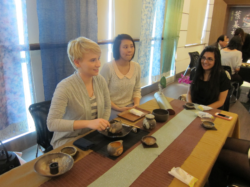 Students from the University of St. Thomas participate in a Taiwanese tea ceremony