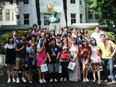 CNU students on the campus of Hoshi University in Japan, 2012.