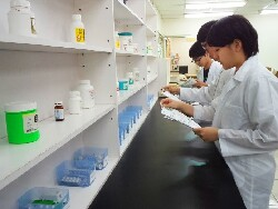 臨床教學中心-學生在藥劑調劑室進行調劑實習情形。
