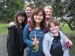 Students with homestay family on the 2012 Australian Study Tour