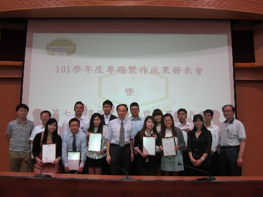Prizewinning students and their supervising teachers at the 2012 graduation exhibition