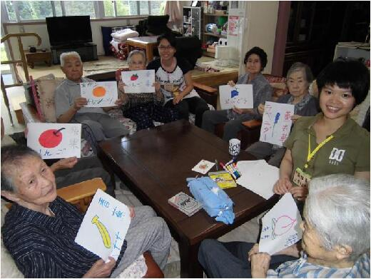 Students on work experience at a Japanese elderly care organization